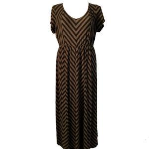 Torrid Size 3 Olive Green Black Stripe Maxi Dress